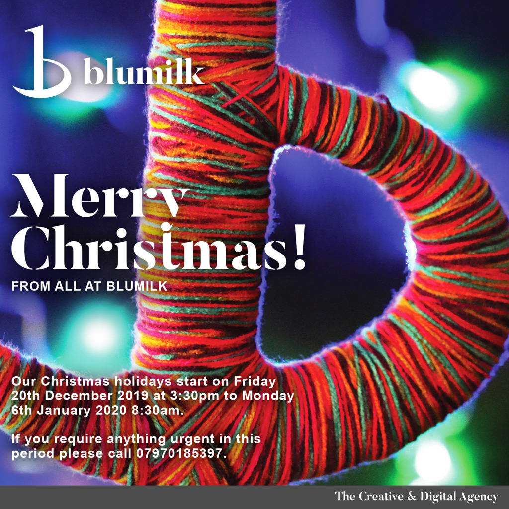 Merry Christmas from All at Blumilk, 2019 Opening Hours